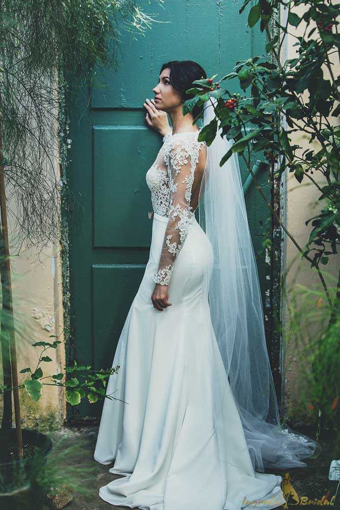 Stunning Long Sleeve Fishtail Wedding Dress for Delicate Brides