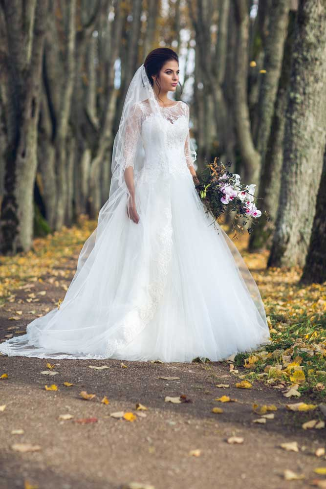 long sleeves ballgown wedding dress