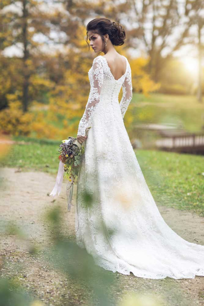 cappuccino long sleeves wedding dress