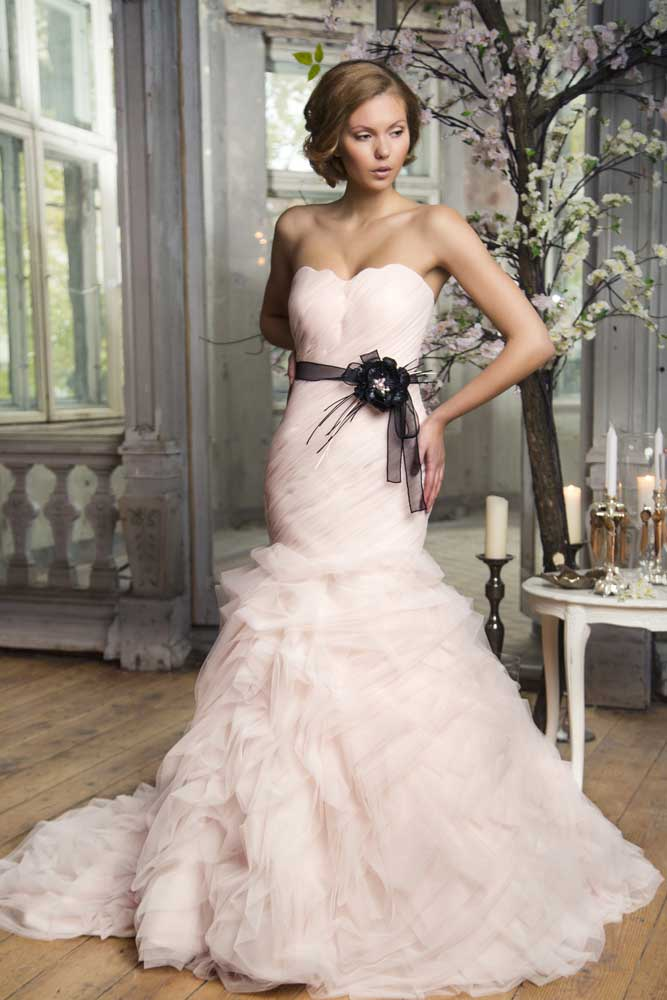 pink strapless wedding dress