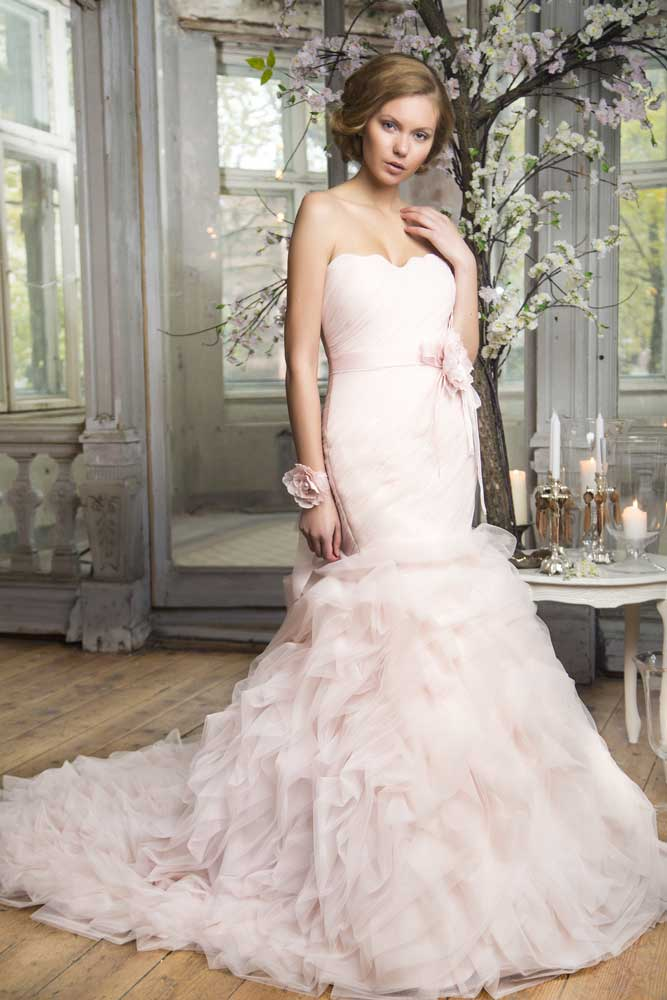 pink corset wedding dress